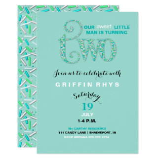 Second Birthday Mint & Aqua Sprinkles 2 Year Old Card