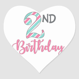 Second Birthday Party Heart Stickers