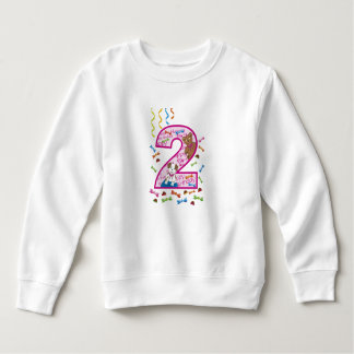 second birthday pink with bear and dog sweatshirt