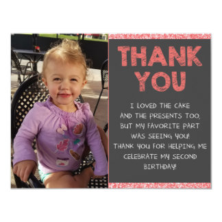 Second Birthday Thank You Card