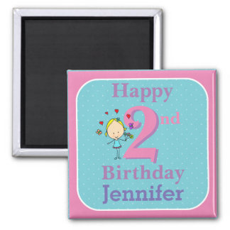 Second Birthday, Two Year Old, Girl Square Magnet