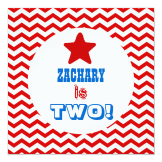 Second Birthday TWO Year Old Red Chevrons Boy V02A Personalized Announcement