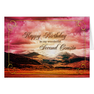 Second Cousin birthday, Sunset over the mountains Card