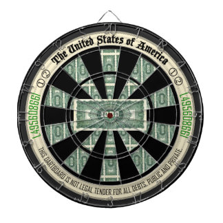 Second Edition U.S.A Vintage Paper Money Art Dartboards