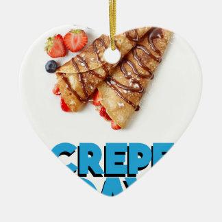 Second February - Crepe Day - Appreciation Day Ceramic Heart Ornament