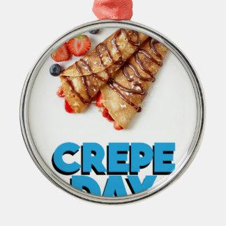 Second February - Crepe Day - Appreciation Day Silver-Colored Round Ornament