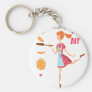 Second February - Crepe Day Basic Round Button Keychain