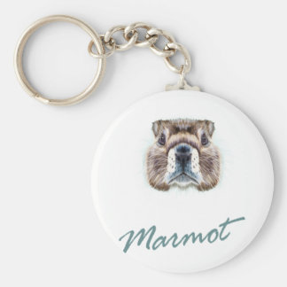 Second February - Marmot Day Basic Round Button Keychain