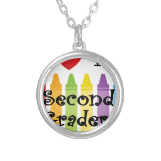 second grade teacher2 silver plated necklace