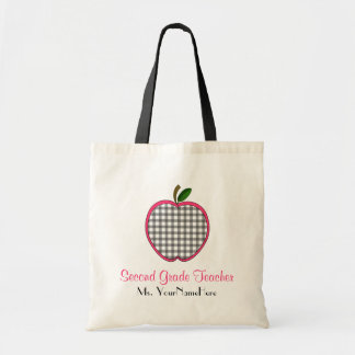 Second Grade Teacher Bag - Gray Gingham Apple