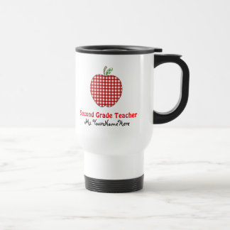 Second Grade Teacher Mug - Red Gingham Apple