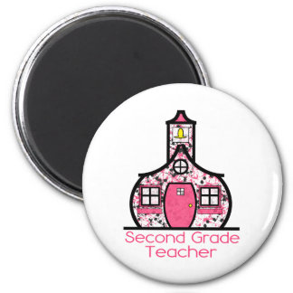 Second Grade Teacher Paint Splatter Schoolhouse Magnet