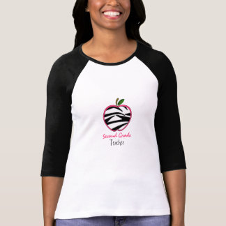 Second Grade Teacher Shirt - Zebra Print Apple