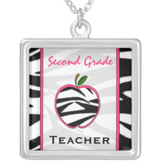 Second Grade Teacher Zebra Print Apple Necklace