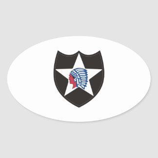 SECOND INFANTRY INDIAN HEAD OVAL STICKER
