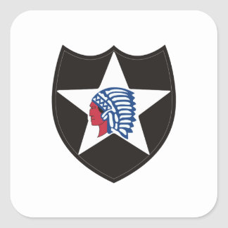 SECOND INFANTRY INDIAN HEAD SQUARE STICKER