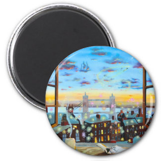 Second star to the right. Peter Pan inspired art 2 Inch Round Magnet