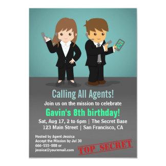 "Secret Agent Birthday Party 4.5"" X 6.25"" Invitation Card"