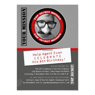 Secret Agent Custom Photo Birthday Invitation