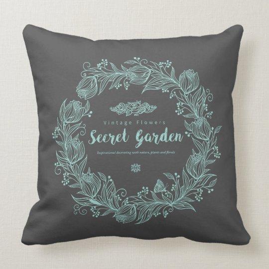 Secret garden mint throw pillow
