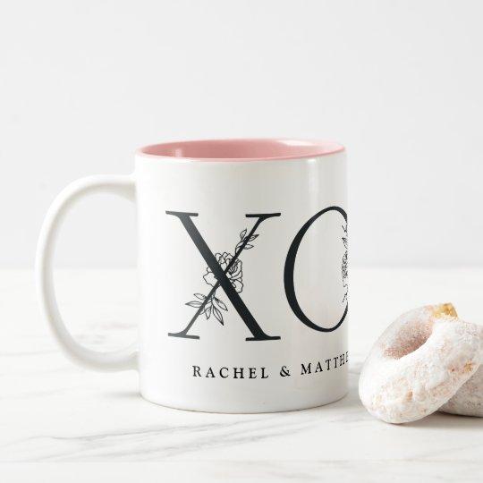 Secret Garden | Personalized Wedding Date XOXO Two-Tone Coffee Mug