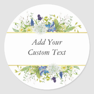 Secret Garden Rustic Wildflowers Classic Round Sticker