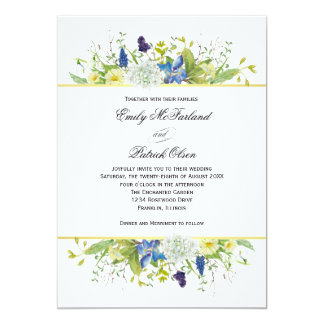 Secret Garden Rustic Wildflowers Wedding Card