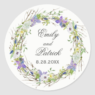 Secret Garden Rustic Wildflowers Wreath Classic Round Sticker