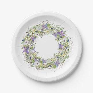 Secret Garden Rustic Wildflowers Wreath Paper Plate