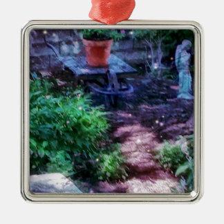 Secret Garden Silver-Colored Square Ornament