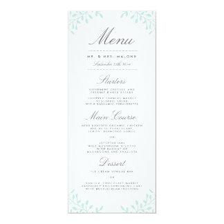 "Secret Garden Wedding Dinner Menu - Mint 4"" X 9.25"" Invitation Card"