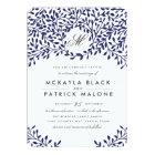 Secret Garden Wedding Invite - Navy