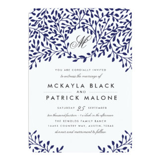 Secret Garden Wedding Invite - Navy