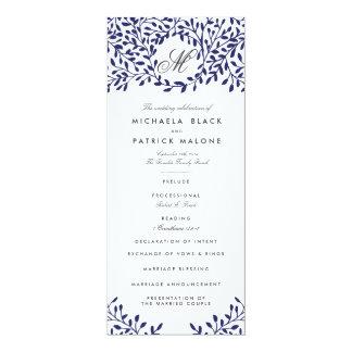 "Secret Garden Wedding Programs - Navy 4"" X 9.25"" Invitation Card"