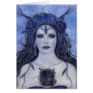 Secret keeper gothic art greeting card by Renee
