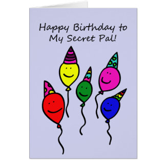 Secret Pal Birthday Card, Balloon People Greeting Card