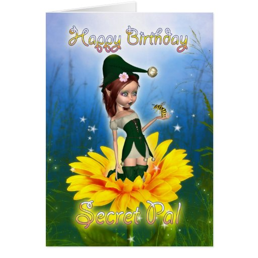 Secret Pal, Birthday Card - Fantasy Cute Elf On Su