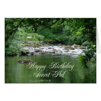 Secret Pal birthday card showing a river