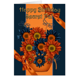 Secret Pal Birthday Card - Sunflower And Dragonfly