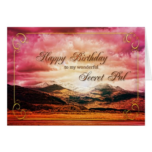 Secret pal birthday, Sunset over the mountains Cards