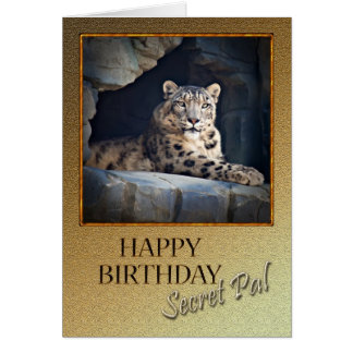Secret pal Birthday with a snow leopard Greeting Card