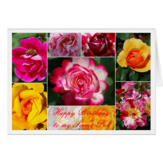 Secret Pal Happy Birthday Rose Collage Yellow Greeting Card