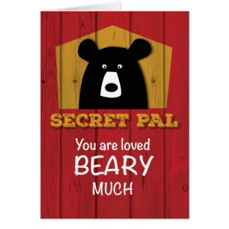 Secret Pal, Valentine Bear Wishes on Red Wood Card