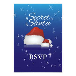"Secret Santa, Blue/Hat 3.5"" X 5"" Invitation Card"