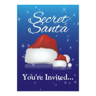 "Secret Santa, Blue/Hat 5"" X 7"" Invitation Card"