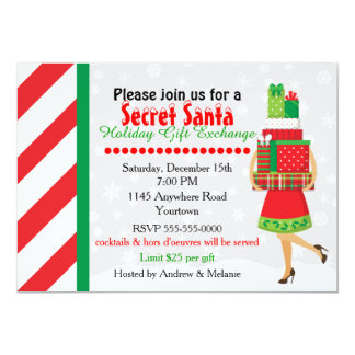"Secret Santa Gift Exchange 5"" X 7"" Invitation Card"