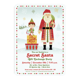 "Secret Santa Gift Exchange Holiday Party 5"" X 7"" Invitation Card"