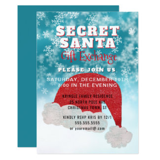 Secret Santa Gift Exchange Party Blue Invitation