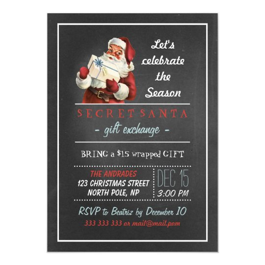 Secret Santa Holiday Party 5x7 Vintage Chalkboard Card