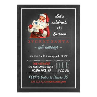 Secret Santa Holiday Party Vintage Chalkboard Fun 5x7 Paper Invitation Card